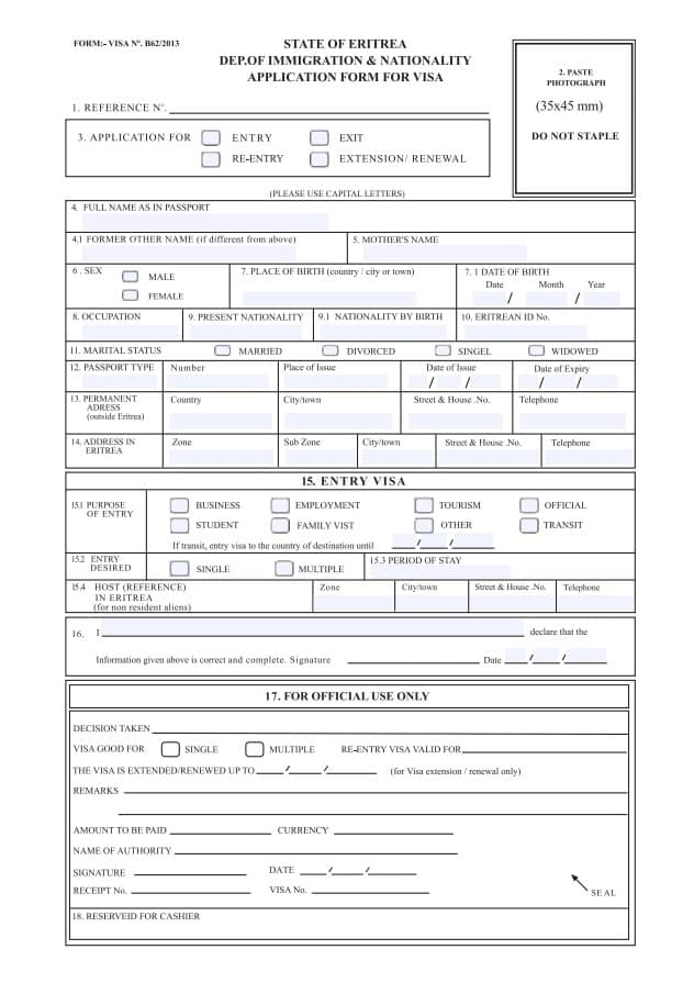 Eritrea Visum Eritrea Visa application form