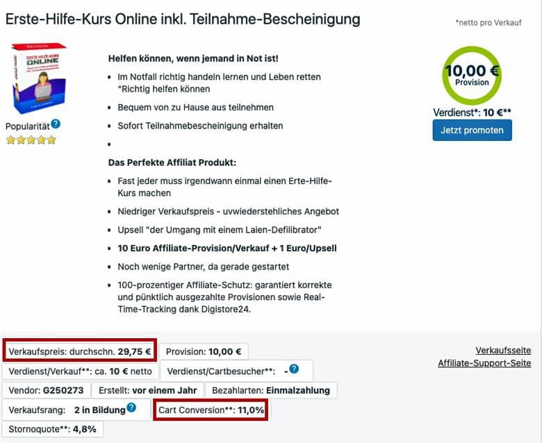 Erste Hilfe Online Kurs Digistore24 Digitale Produkte verkaufen