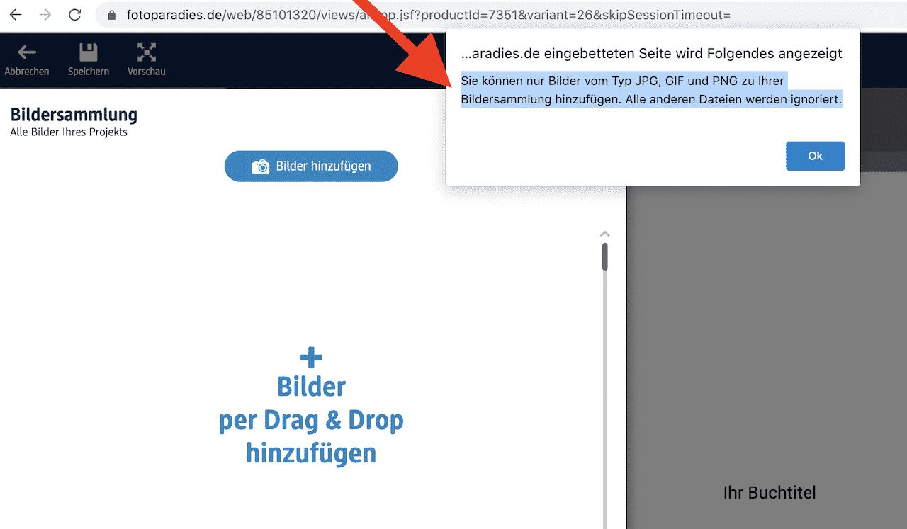 Fotobuch Formate nicht .HEIC kompatibel