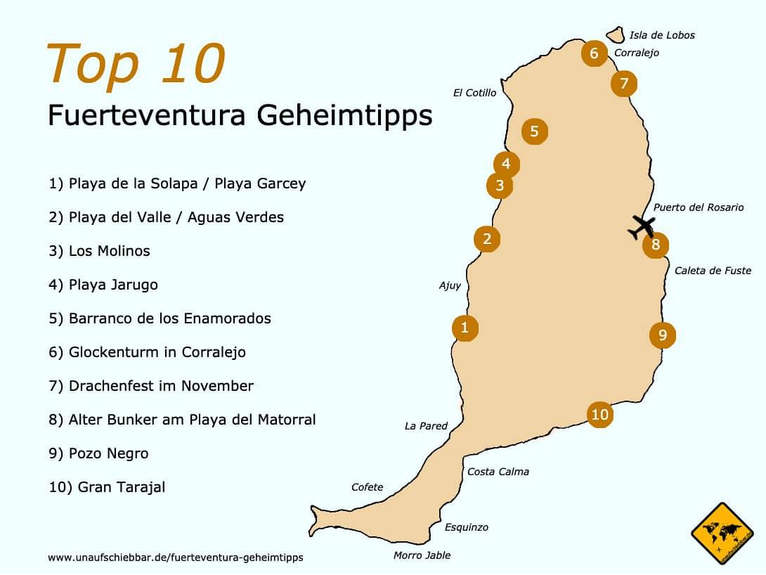 Fuerteventura Geheimtipps Karte