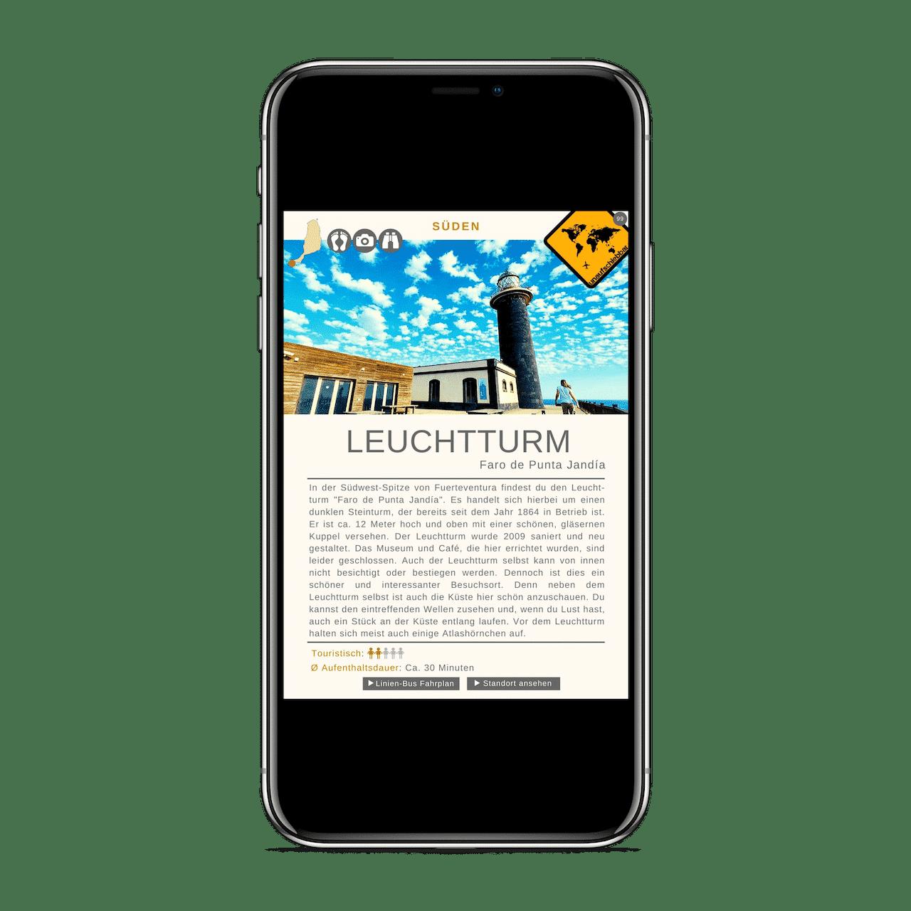 Fuerteventura Reiseführer Leuchtturm iPhone