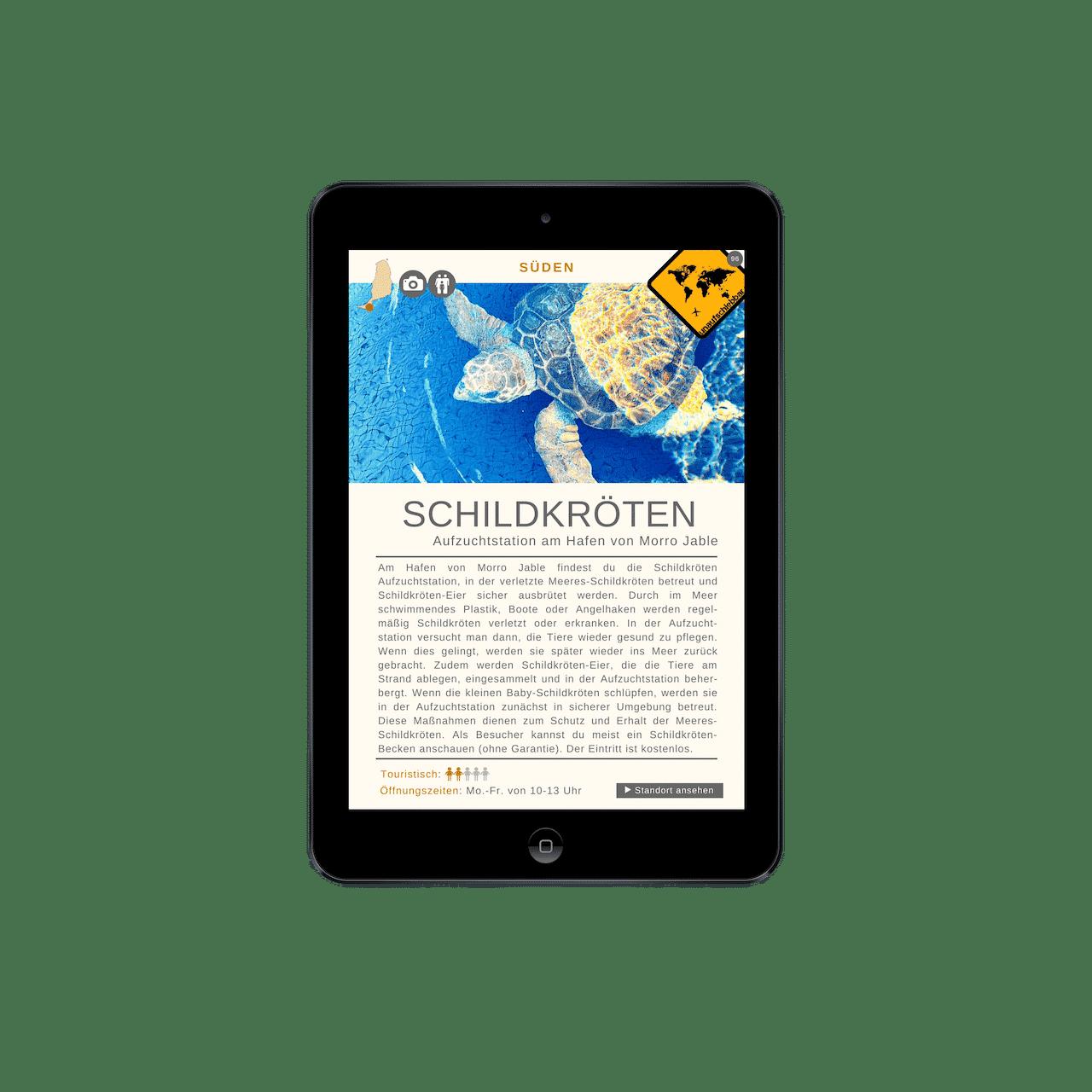 Fuerteventura Reiseführer Schildkröten iPad