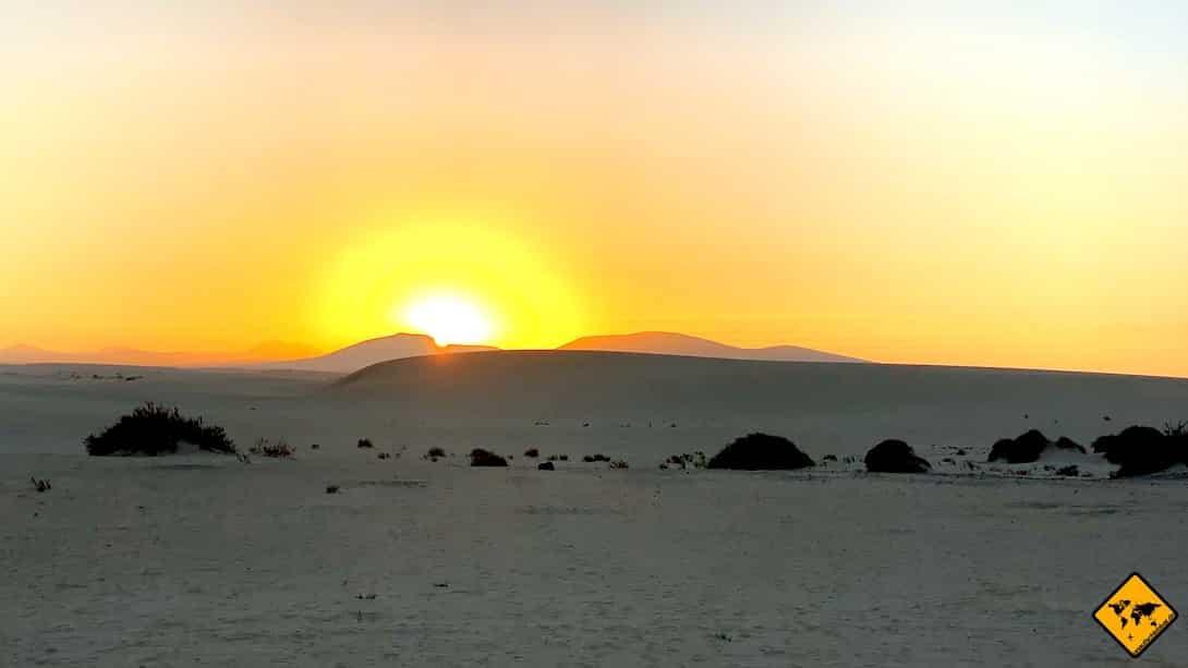 Fuerteventura oder Lanzarote Sonnenuntergang Dünen