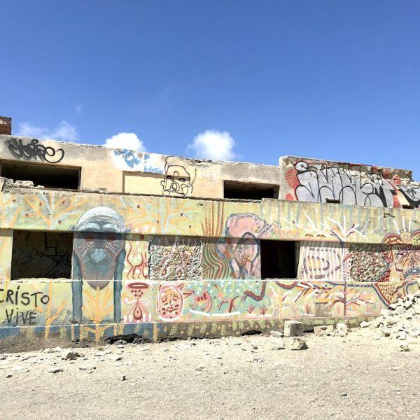 Geisterstadt Teneriffa Abades Ruinen Graffiti Affe