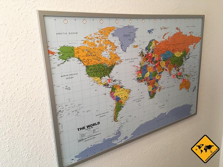 Geschenke für Reisende - Reisegeschenke - Pinnwand-Weltkarte-Kork-XXL-Memotafel