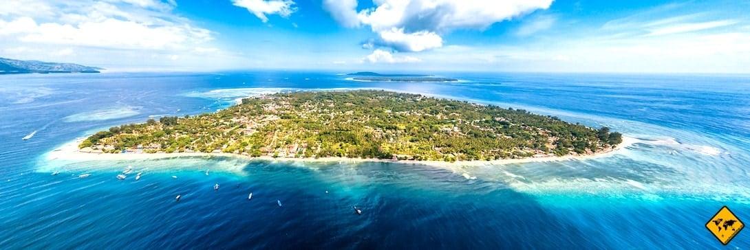 Gili Inseln Drohnenaufnahme Vogelperspektive