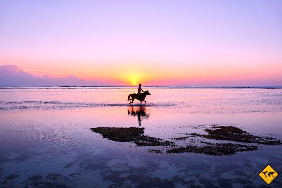 Gili Inseln reiten am Strand Sonnenuntergang