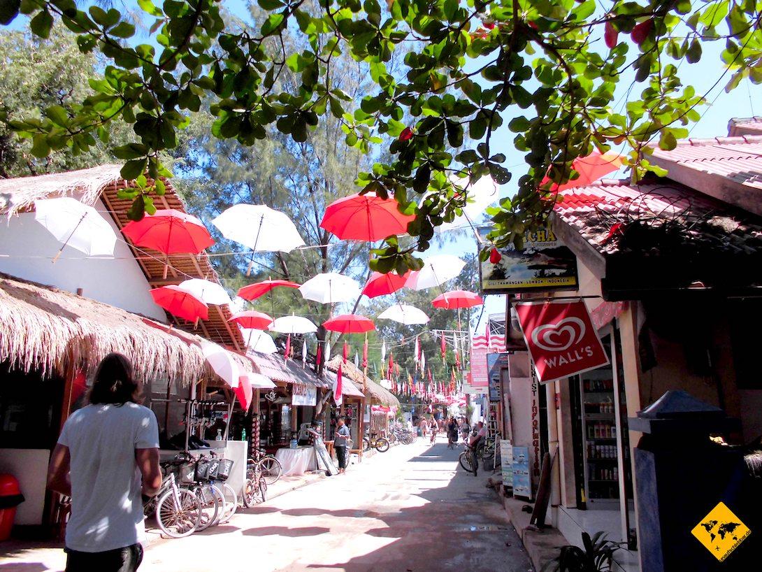 Gili Trawangan Hafen Schirme