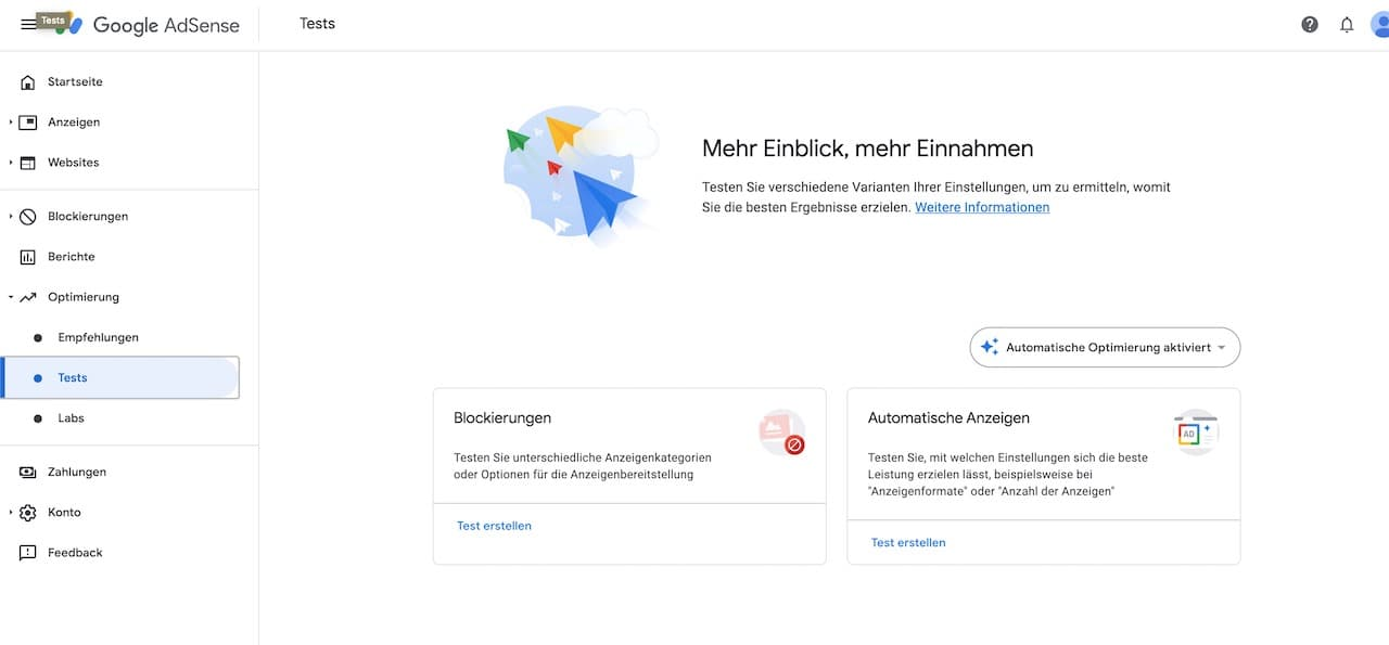 Google AdSense Optimierung Tests