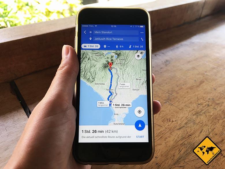 Google Maps Navigation Jatiluwih Bali