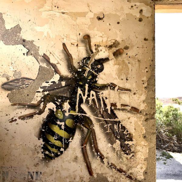 Graffiti Geisterstadt Abades Teneriffa Biene