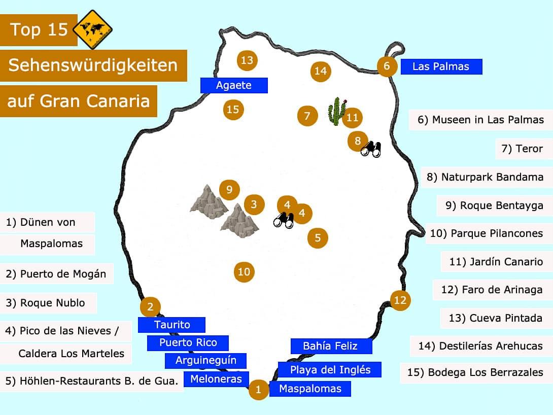 Gran Canaria Sehenswürdigkeiten Karte