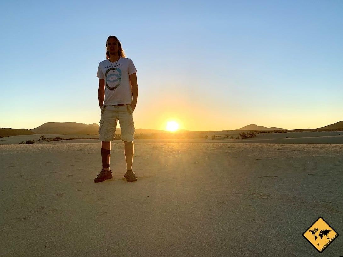 Gran Canaria oder Fuerteventura Gehbehinderung Sonnenuntergang