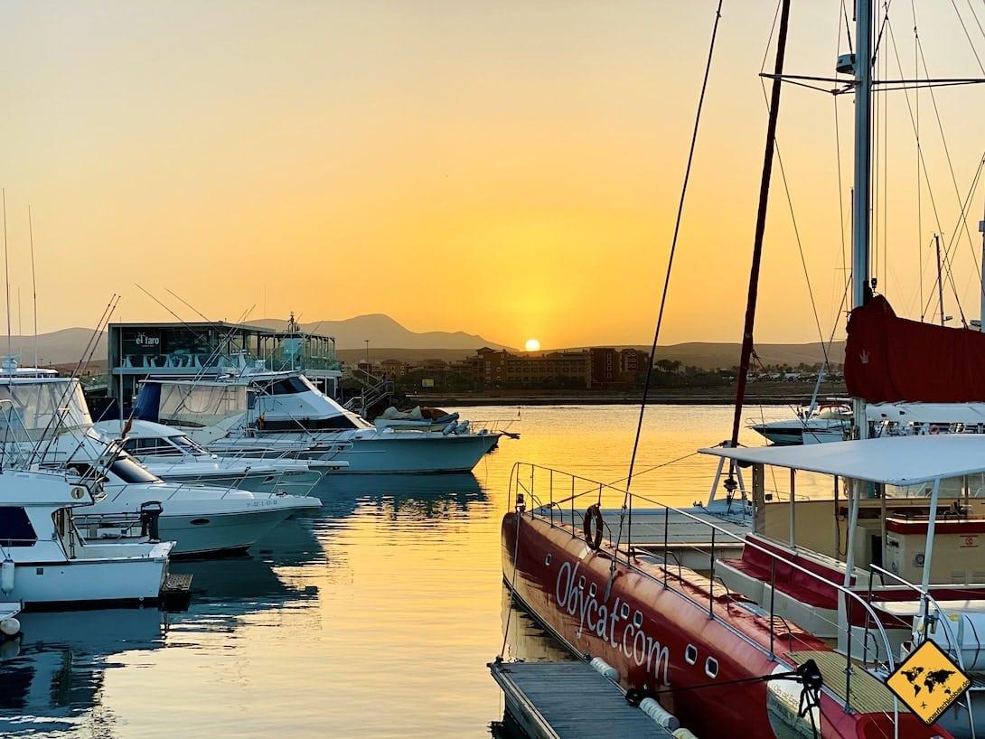 Hafen Caleta de Fuste Sonnenuntergang