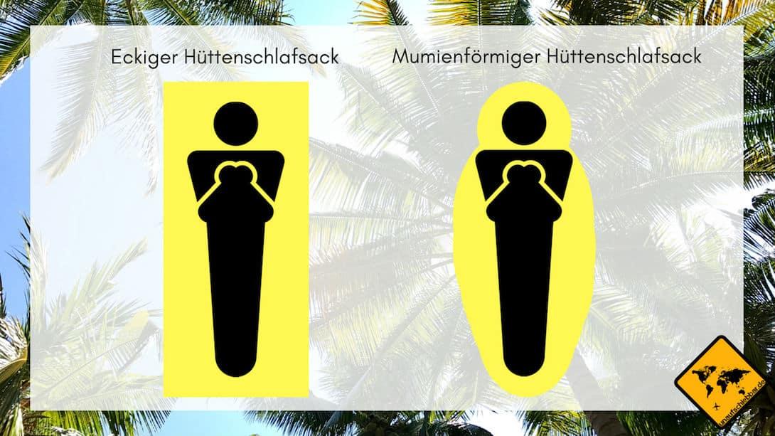 Ein Hüttenschlafsack kann zwei unterschiedliche Formen aufweisen
