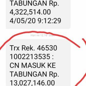 Hier der Transer auf das indonesische Bankkonto