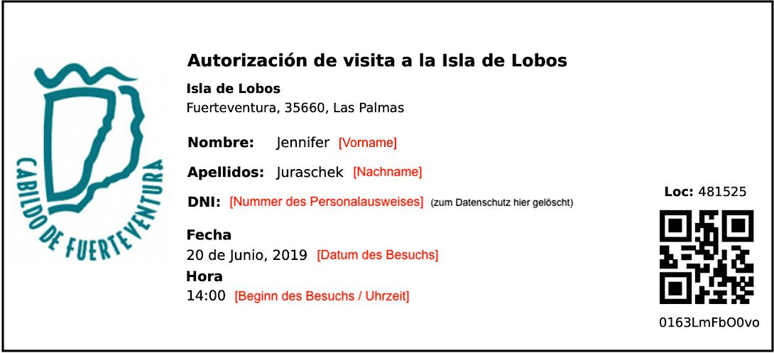 Isla de Lobos Genehmigung