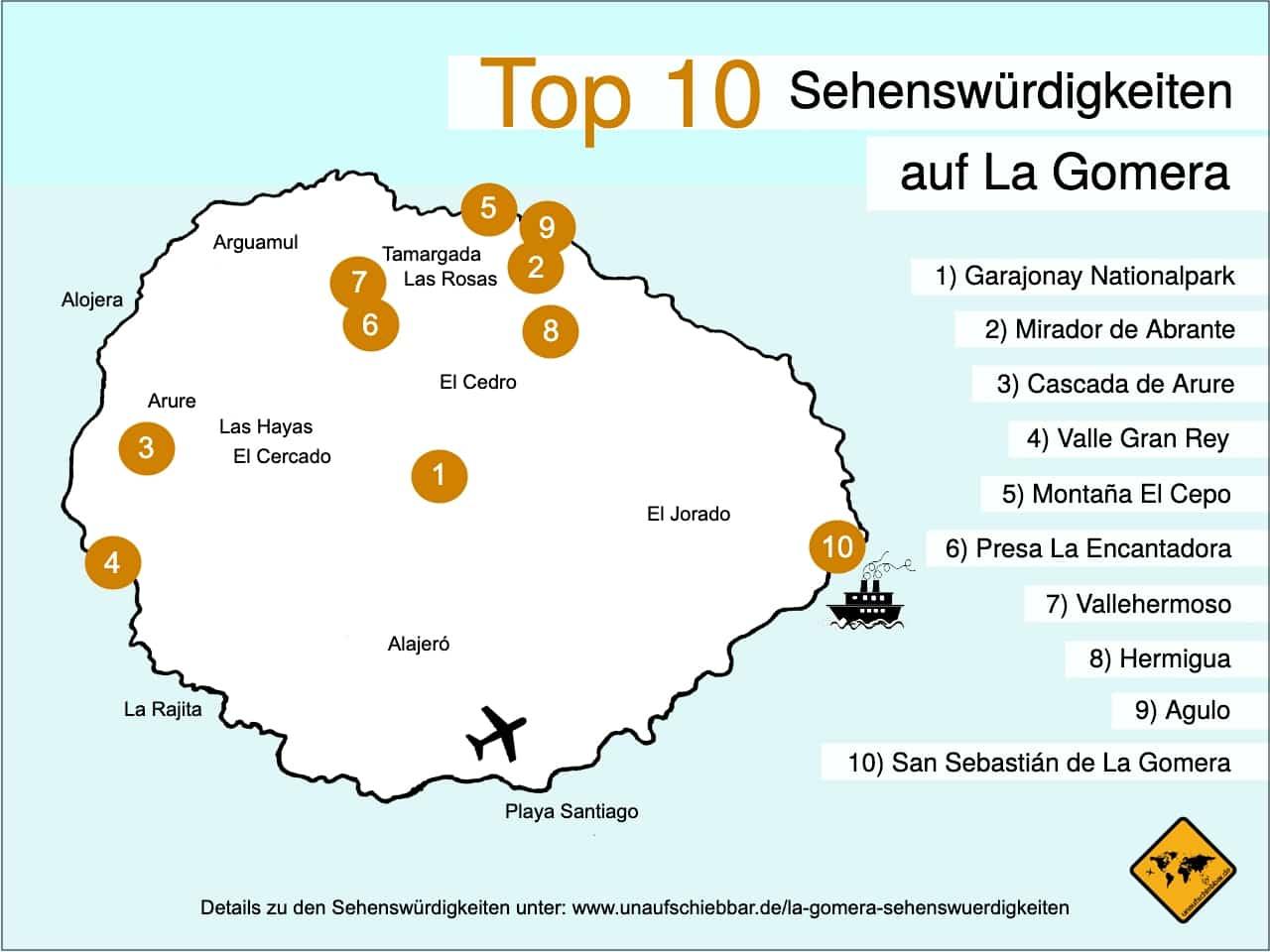Karte La Gomera Sehenswürdigkeiten Top 10