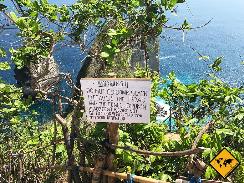 Kelingking Beach Bali Warnschild
