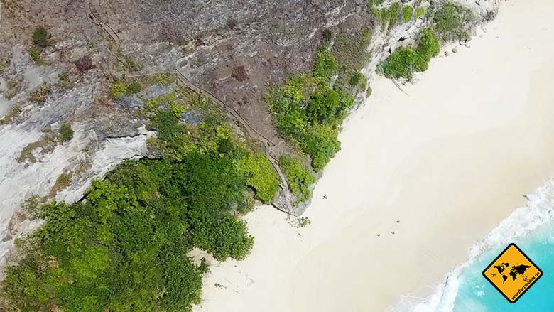 Kelingking Beach Bali steiler Weg