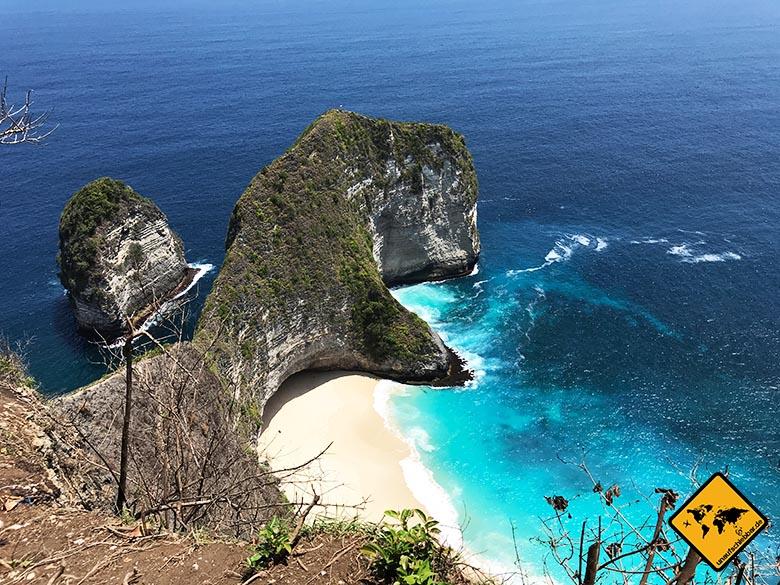 Kelingking Beach Nusa Penida Blick von oben