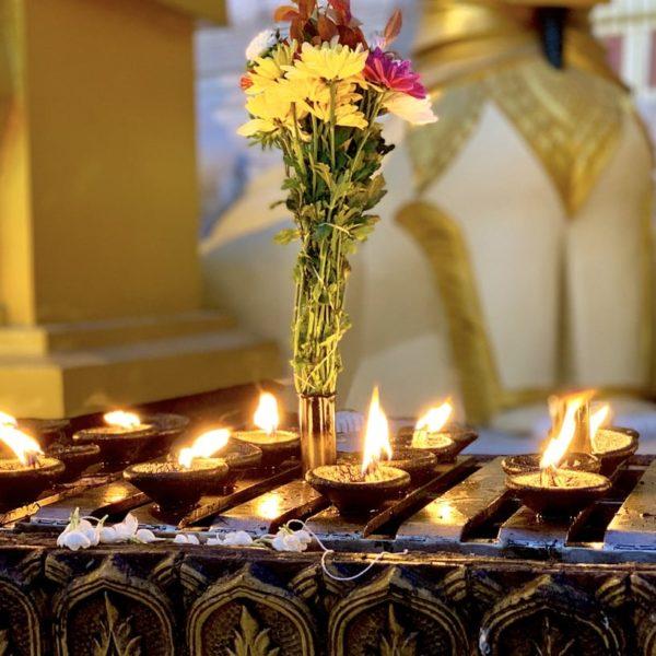 Kerzenlicht Abend Shwedagon Pagode Rangun