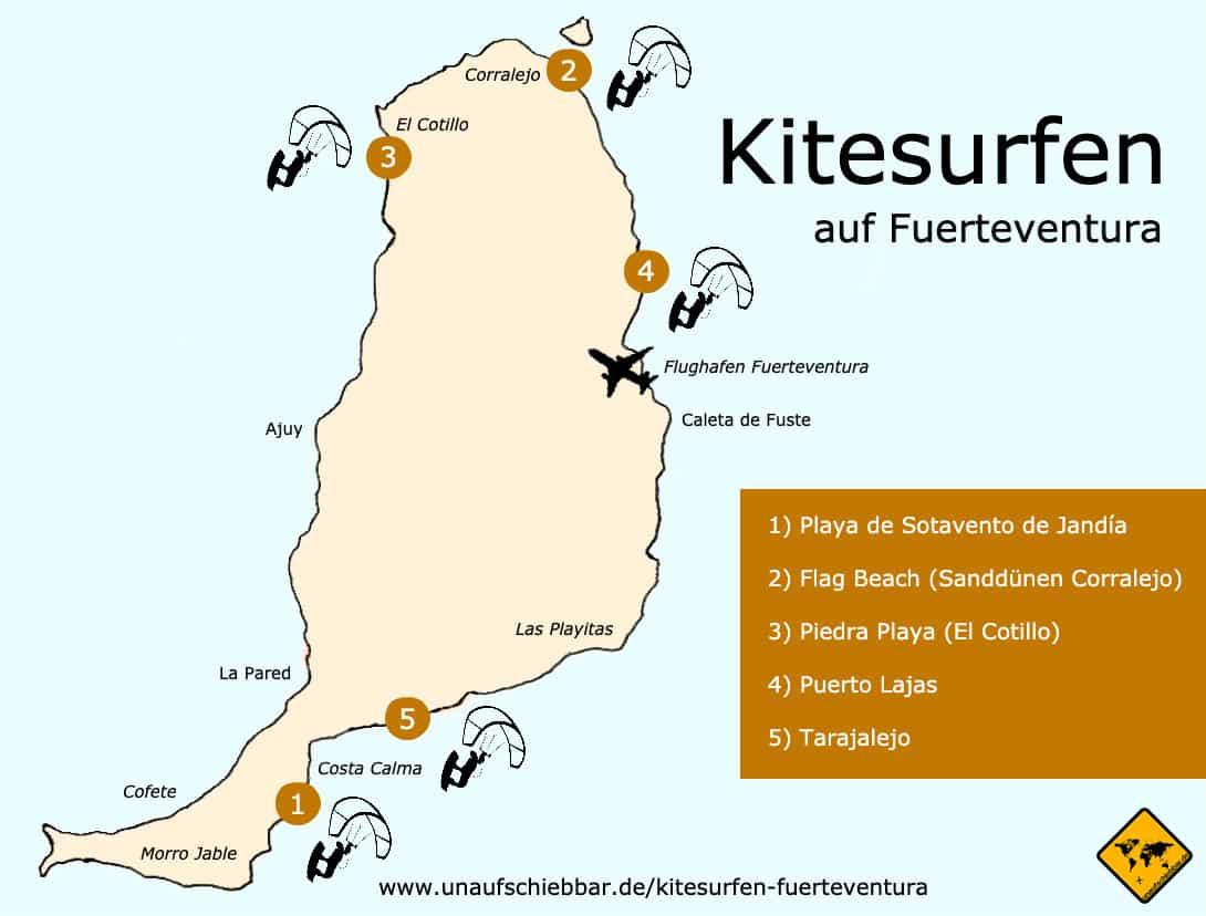 Kitesurfen Fuerteventura Karte
