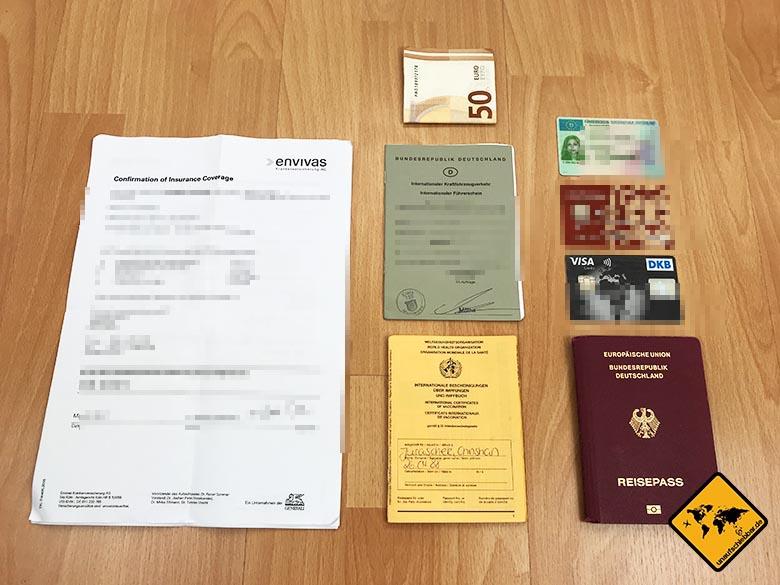 Koffer packen Liste Dokumente Unterlagen