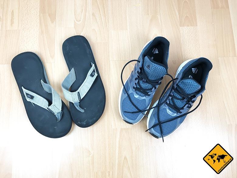 Koffer packen Liste Schuhe Mann