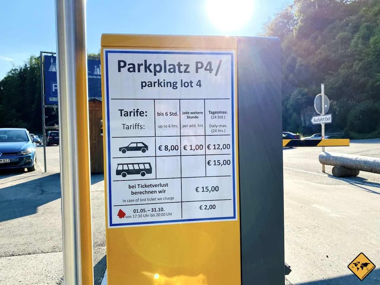 Kosten Parkplatz Schloss Neuschwanstein