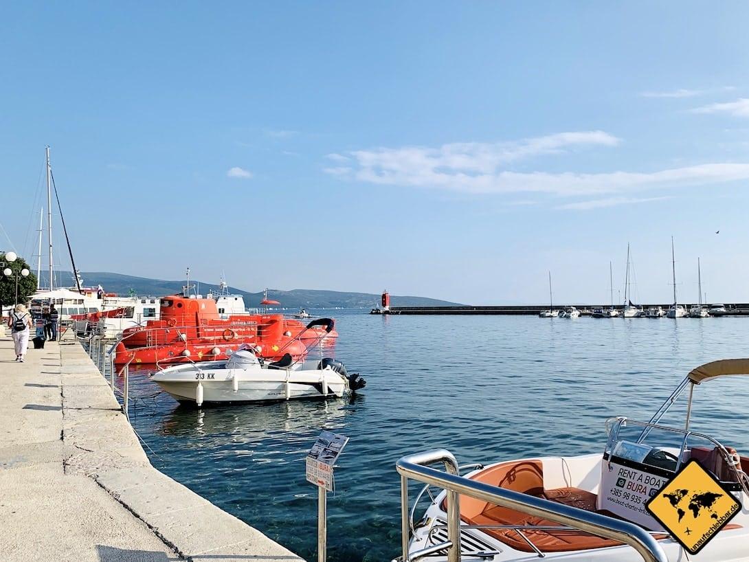 Krk Stadt U-Boot Hafen