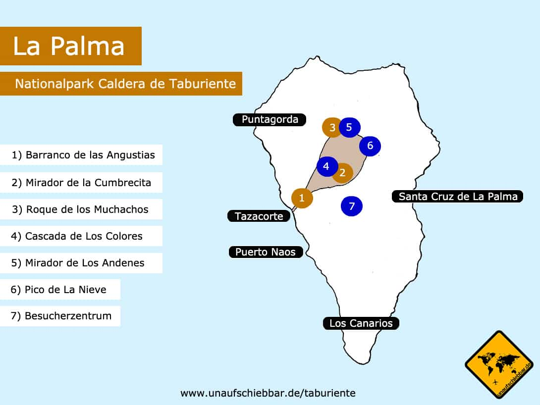 La Palma Karte Nationalpark Caldera de Taburiente