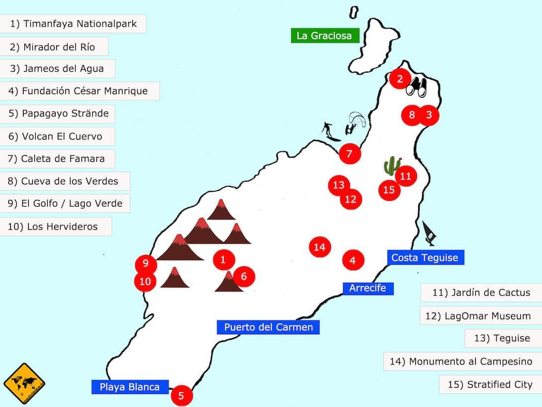 Lanzarote Sehenswürdigkeiten Top 15 Karte