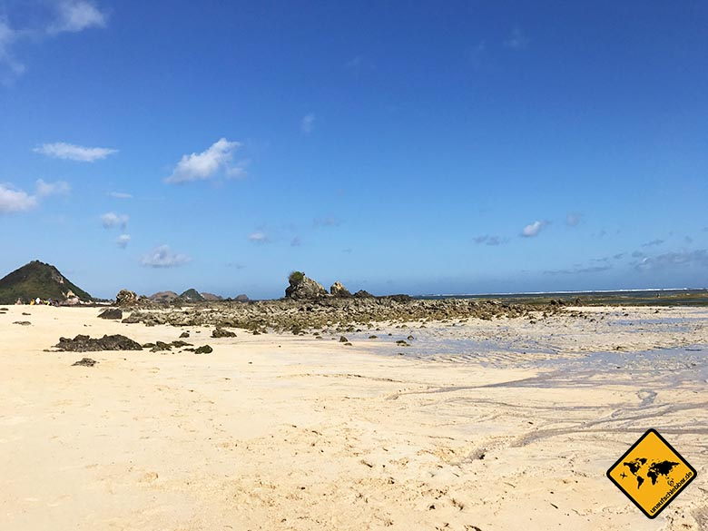 Lombok Strände Pantai Kuta Ebbe