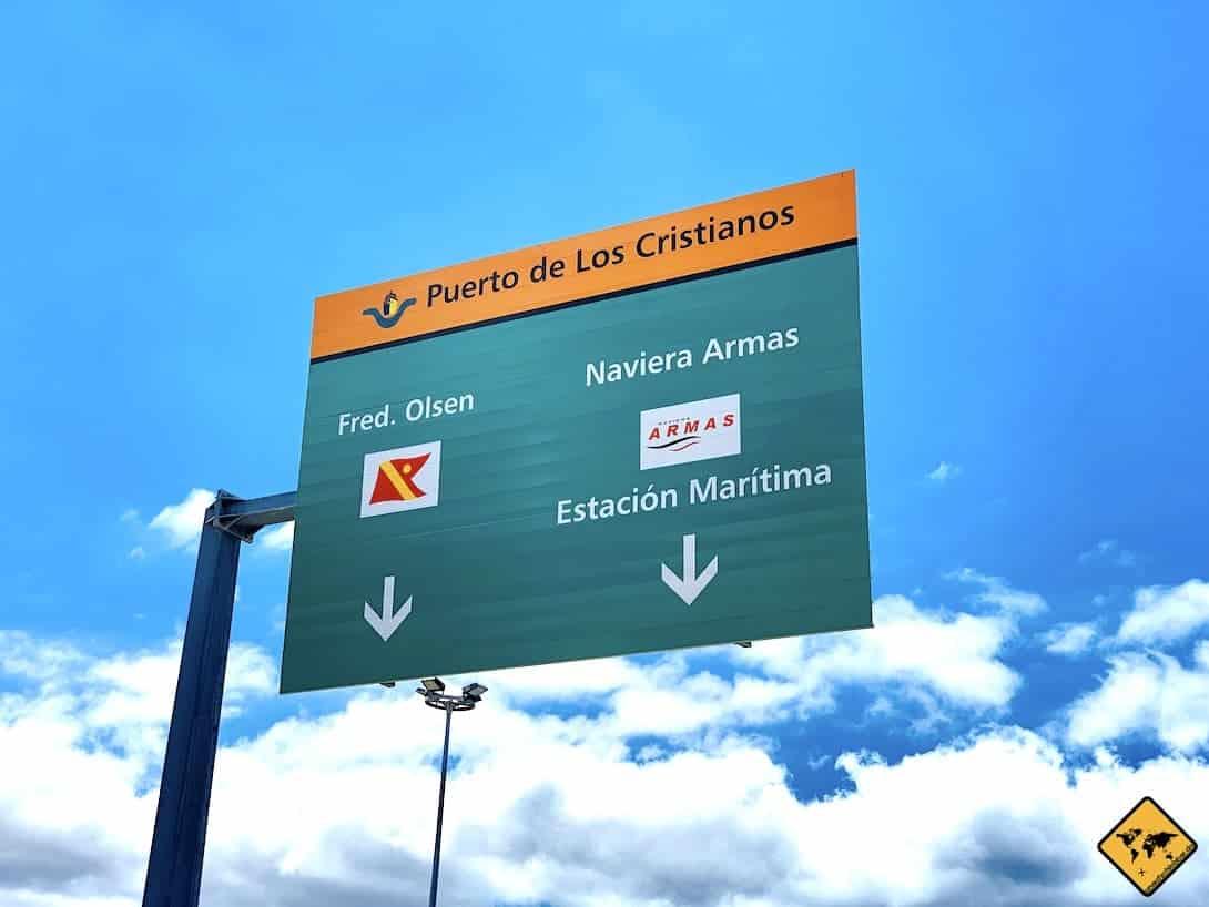 Los Cristianos Hafen Schild