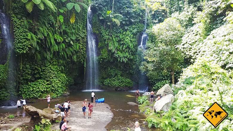 Malaria Lombok Dschungel Wasserfall