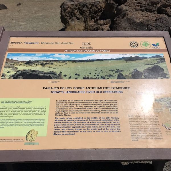 Minas de San Jose Teide Nationalpark Infotafel Bimsstein Abbau