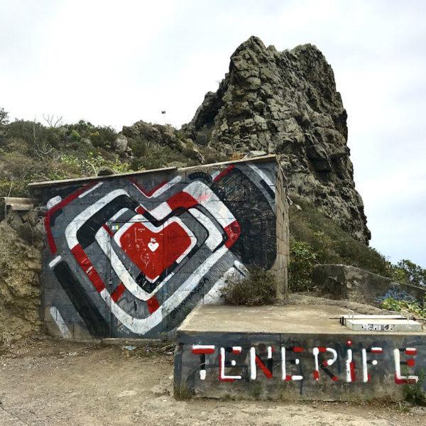 Mirador Risco Mogote Anaga Gebirge Teneriffa Graffiti