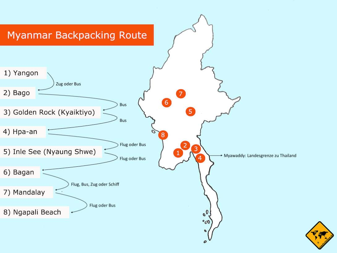 Myanmar Backpacking Route