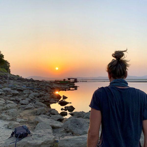 Myanmar Bagan Irrawaddy Fluss Sunset