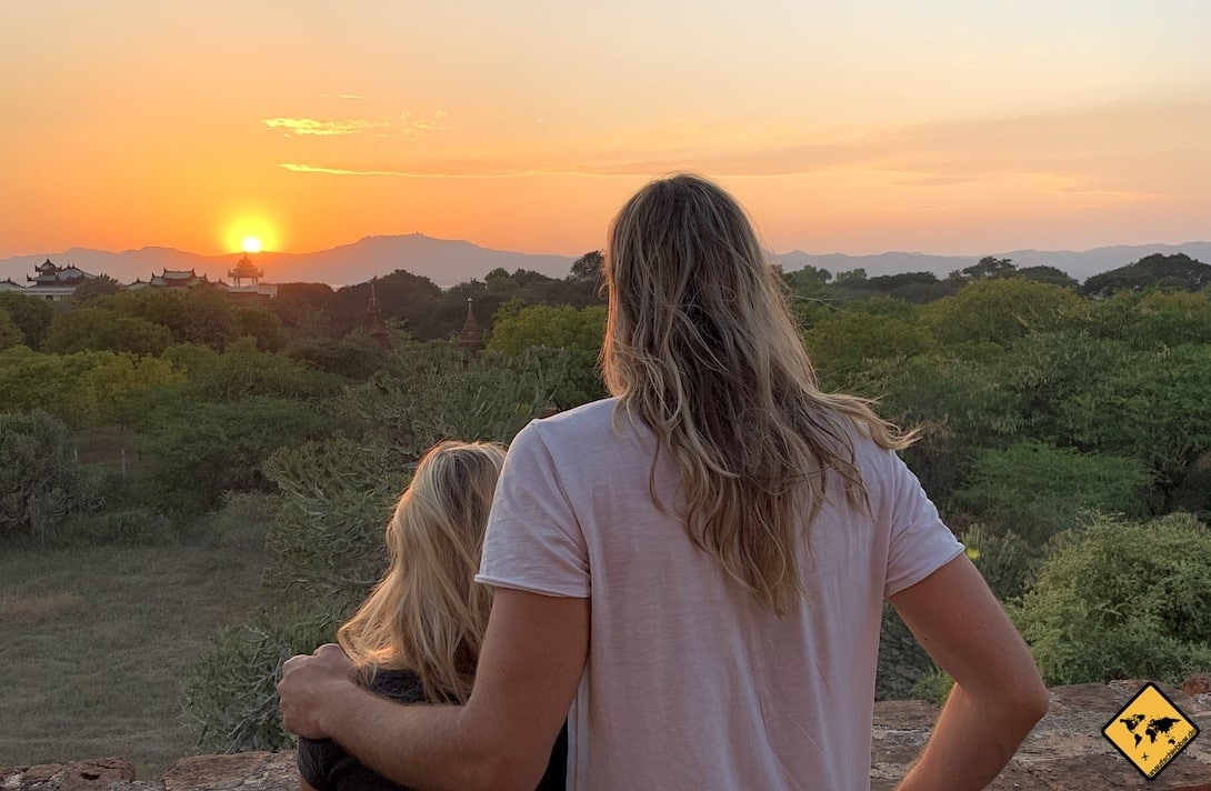 Myanmar Blog Sonnenuntergang Bagan Pagode