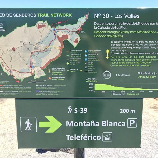Nationalpark Teide wandern Schild