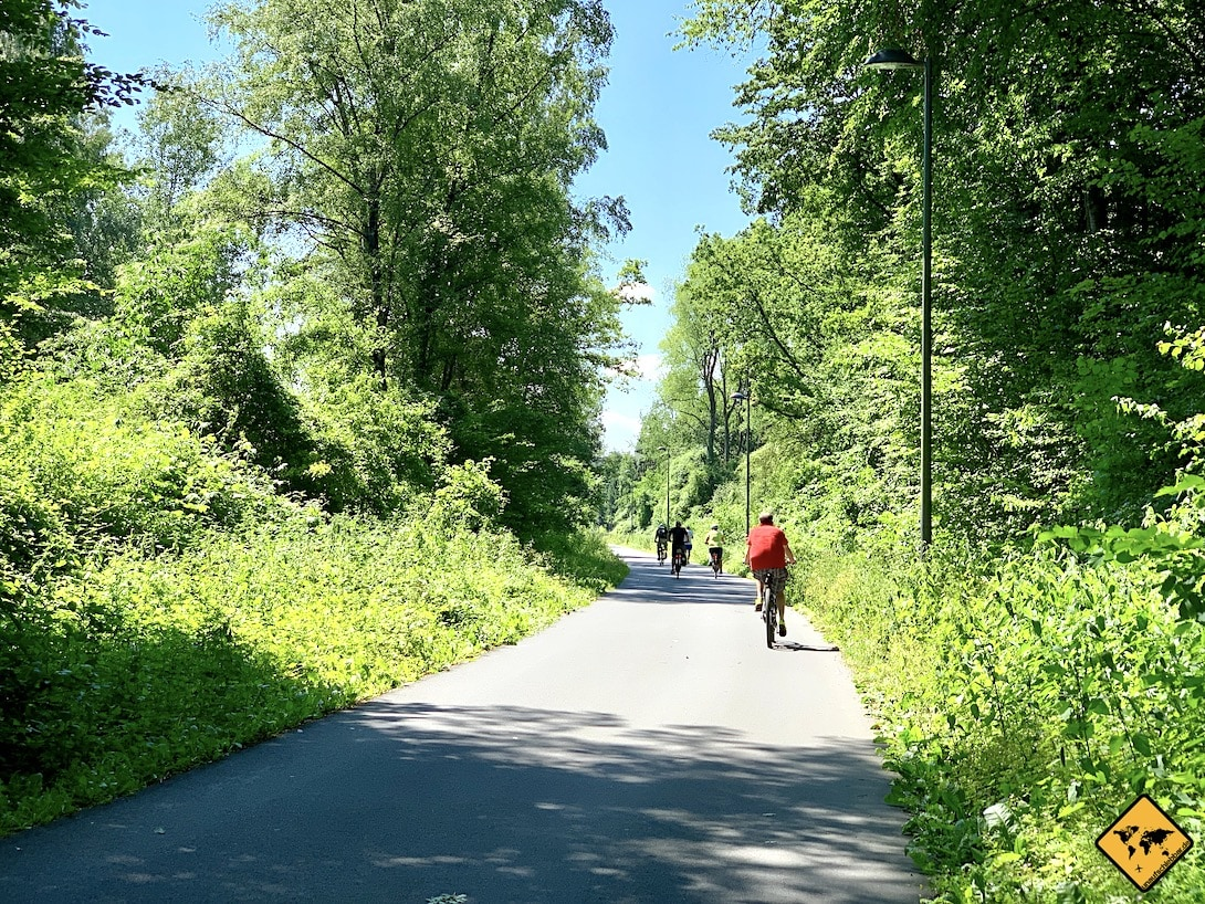 Nordbahntrasse Wuppertal Naherholungsgebiet Radfahrer