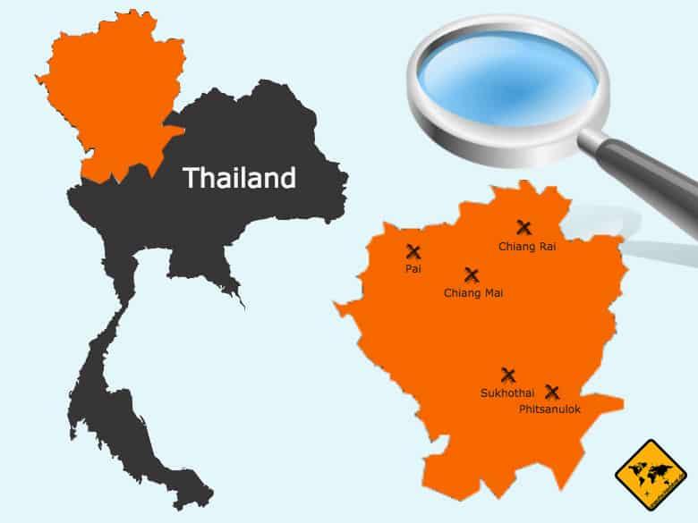 Nordthailand Karte