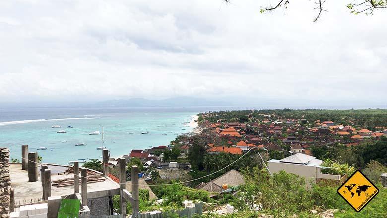 Nusa Lembongan Anreise Mushroom Beach von oben