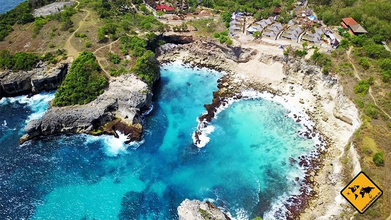 Nusa Lembongan Strände Blue Lagoon Vogelperspektive