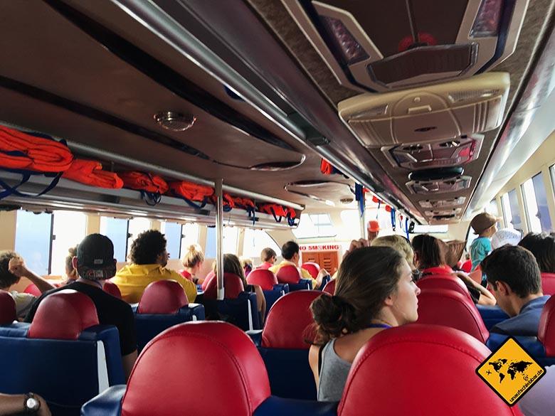Nusa Penida Anreise Schnellboot innen