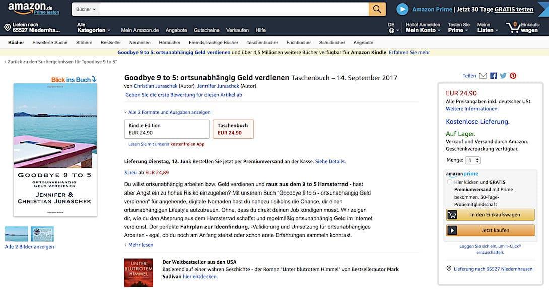 """Unser Buch """"Goodbye 9 to 5 - ortsunabhängig Geld verdienen"""" kannst du z.B. auch über Amazon als Print Exemplar bestellen"""