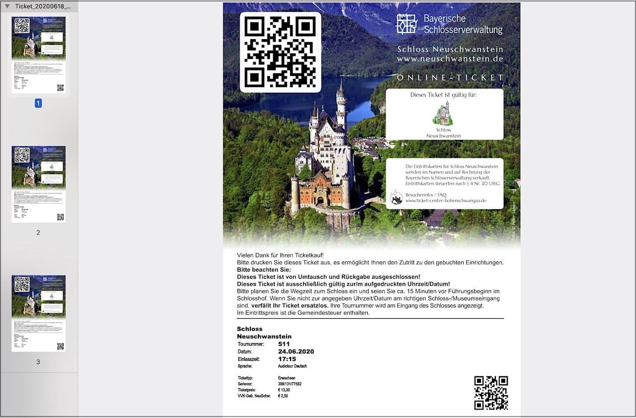 Online Ticket Schloss Neuschwanstein