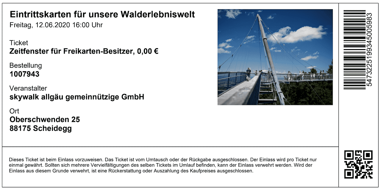 Online Ticket Skywalk Allgäu Scheidegg
